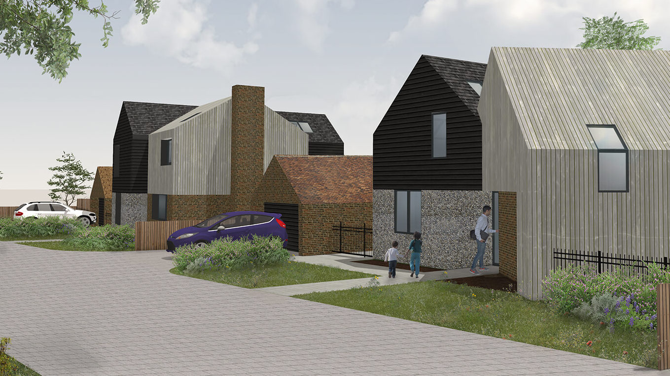 An example rendering of a small, inspiring housing development